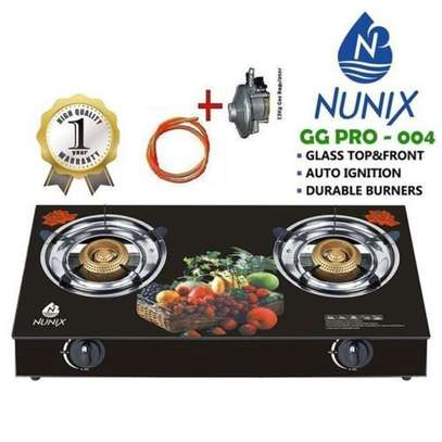 GAS COOKER-GLASS TABLE TOP( WITH FREE PIPE & REGULATOR) image 1