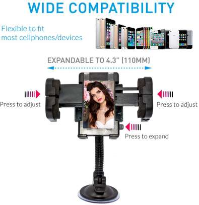 CAR PHONE HOLDER, UNIVERSAL 2-IN-1 DASHBOARD WINDSHIELD CELL PHONE CAR MOUNT image 1
