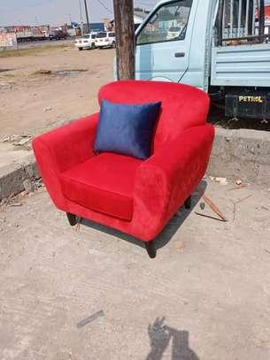 Red velvet one seater sofa/modern single seater sofas/latest sofa set designs for sale in Nairobi Kenya image 1