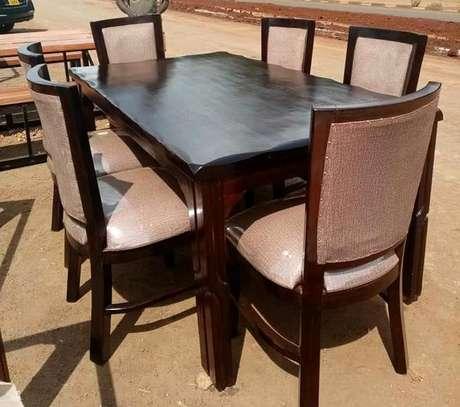 Six seater hardwood dining set image 1