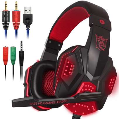 Plextone Gaming Headset for PS4 X Box PC GAMING  Noise Isolation Gaming Headphones  With hd mic and led - Black and red) image 1