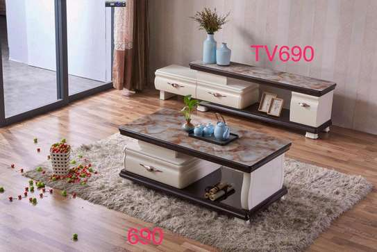 Tv stand coffee table marble image 2