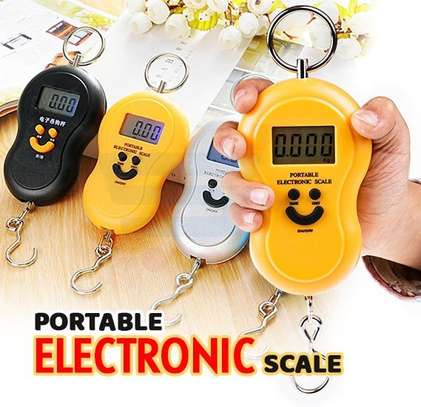 LCD Weighing Scale 50kg Portable Hanging Balance Smile Shape Digital Display, food shopping & Kitchen electronic scale (Very Effective) image 1