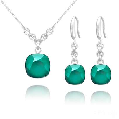 Cushion Cut Sterling Silver Jewelry Set with Swarovski® Crystal – Royal Green