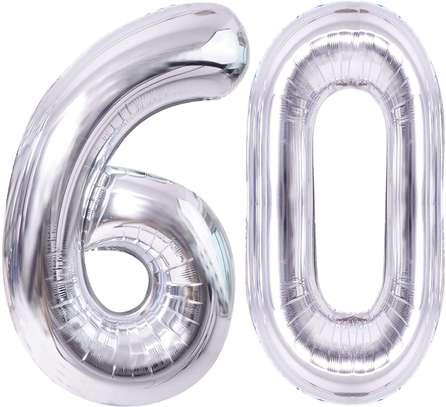 Silver Number Balloons Giant Jumbo Number  Foil Mylar B image 2