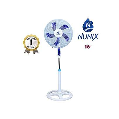 "Nunix Fan , Stand, 16"" - White & Blue"