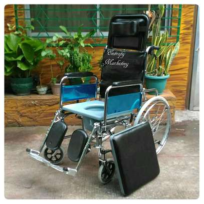 Reclining commode wheelchair image 2