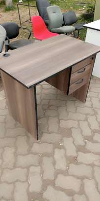 Walnut color office table with 3 drawers image 1