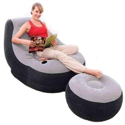 Grey Inflatable Seat with Footrest and Hand Pump image 1