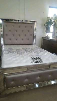 Queen size mirrored beds/Mirrored grey beds/5*6 tufted beds/velvet beds image 1