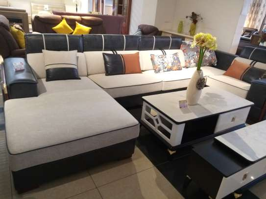 Fabric & leather corner sofa image 5