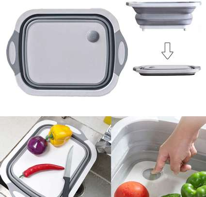 Multifunction 3 in 1 Folding Cutting Board with Strainer Foldable Chopping Board image 1