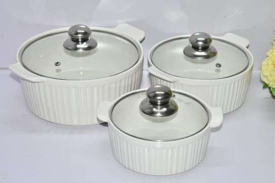 3pcs set Ceramic serving dishes with glass cover image 7