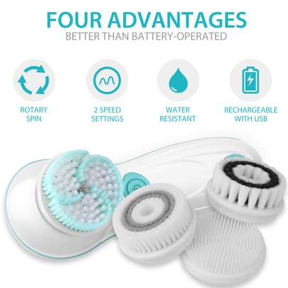 Rechargeable Facial Cleansing Spin Brush Set with 4 Exfoliation Brush Heads - Waterproof Face Spa System by CNAIER - Advanced Microdermabrasion for Deep Scrubbing and Gentle Exfoliating image 2