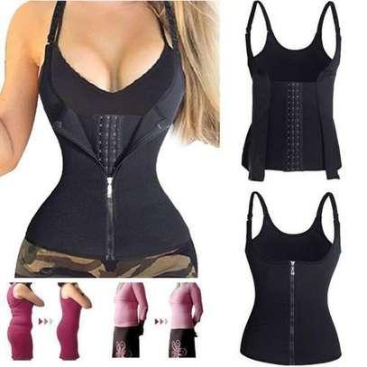 Women Waist Trainer Corset Zipper Vest Body Shaper Cincher Tank Top with Adjustable Straps image 1