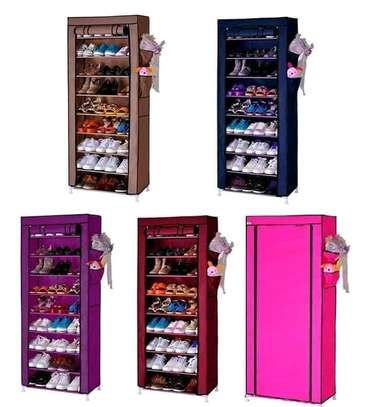 10-Tier Canvas Fabric Shoe Rack Storage Cabinet image 1