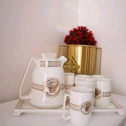 Fancy classy Ceramic Tea Pot, tray and cup set image 1