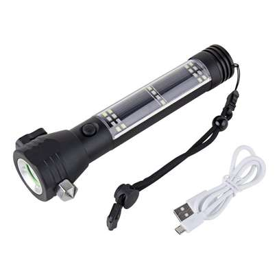 High Quality Solar LED Torch with Emergency Hammer image 1