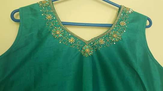 Beautiful green embroidered and stone design attire image 2