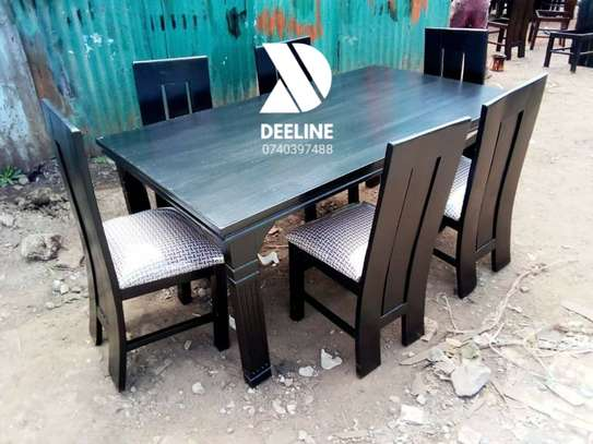 Black rectangular 6 seater dining table sets image 10
