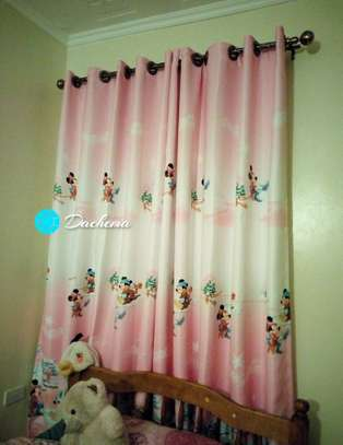 pink cartoon themed curtains image 1