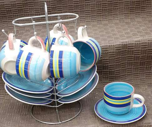 Coloured Cup and saucer image 1
