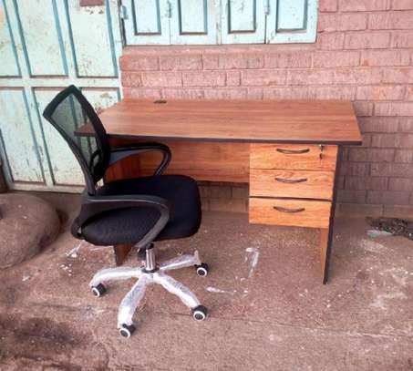 Home office desk with a cable hole plus a 5 star base rotating office chair image 1