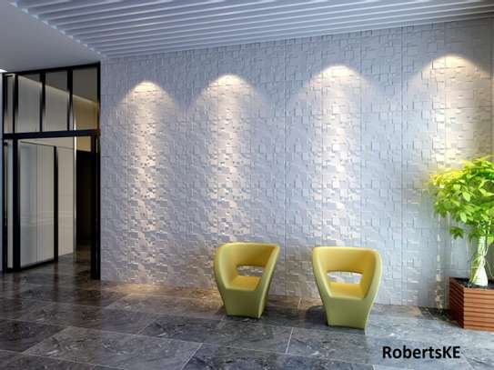 white 3D wall panels image 2