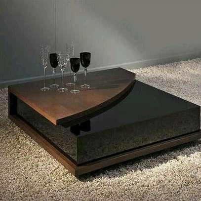 Modern black coffee table/glass coffee table image 1