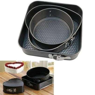 Generic 3pcs Non Stick Cake Tray Pan Bakeware Springform Tray Pan Tins Chocolate Baking Cake Mould Round Heart Square Set Kitchen Gadgets Cooking Tool image 2