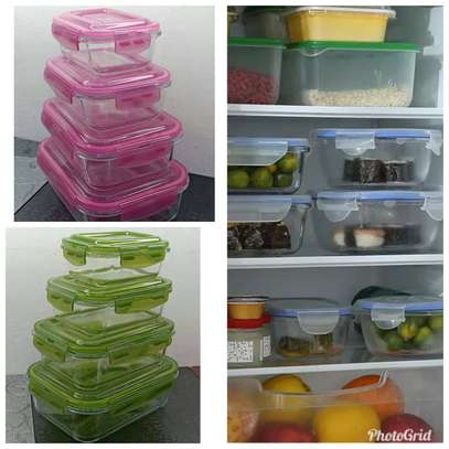 4PCS Borosilicate Glass Storage Containers with Plastic Lid image 1