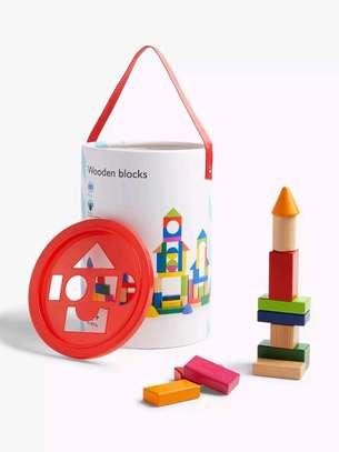 Kids 100 Wooden Blocks image 1