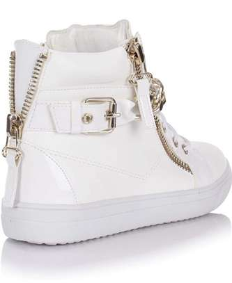 Hightop canvas shoes for women: laceup casuals: size 41 image 1