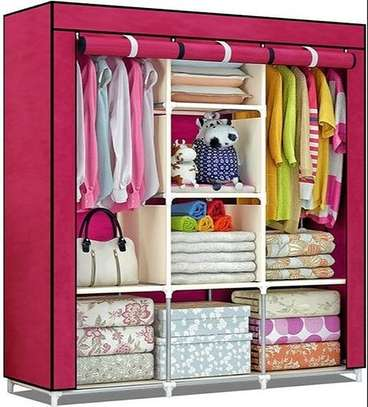 Portable 3 compartment collapsible Wardrobe storage image 2