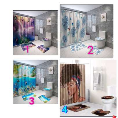 Bathroom curtain mat sets image 2