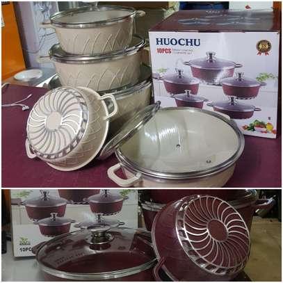 Huochu 10 Pcs Non-Stick Cooking & Serving Pots & Pans image 1