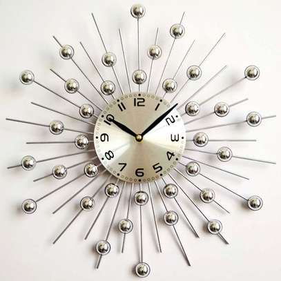 Sun silver wall clock image 1