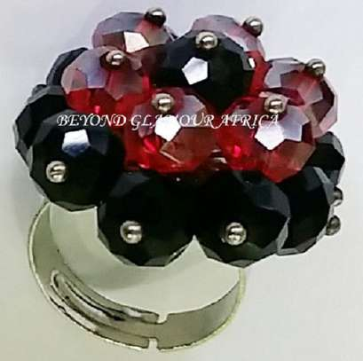 Red Flower Shaped Crystal Metal Band image 2