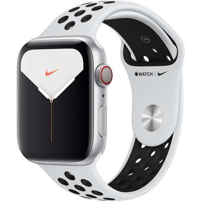 Apple Watch Series 5 (Nike+/GPS + Cell, 44mm, Silver Aluminum, Pure Platinum/Black Nike Sport Band) image 1