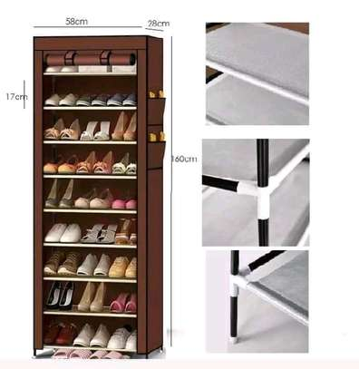 10-Tier Canvas Fabric Shoe Rack Storage Cabinet image 2