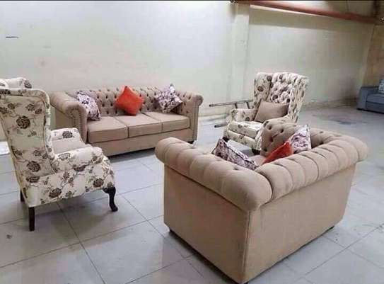 seven Seater (3+2+2wing chairs Chesterfield sofas)) image 1