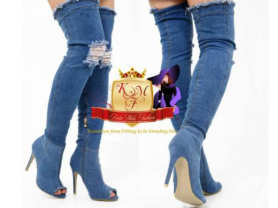 Designer Denim Peeptoe Stiletto Boots From UK