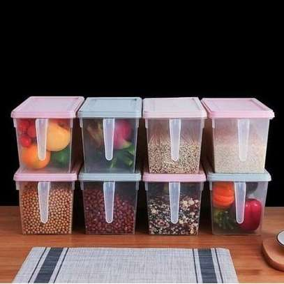 1pc Airtight Fridge Food Storage Organizers Rice & Cereal Container With Lid and Handle image 1