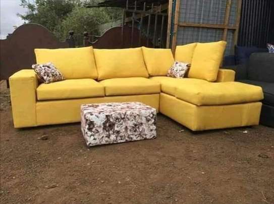 Yellow back pillowed l-shaped  5 seater image 1