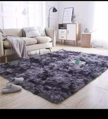 Dark purple patched fluffy antiskid carpet 7*8 image 1
