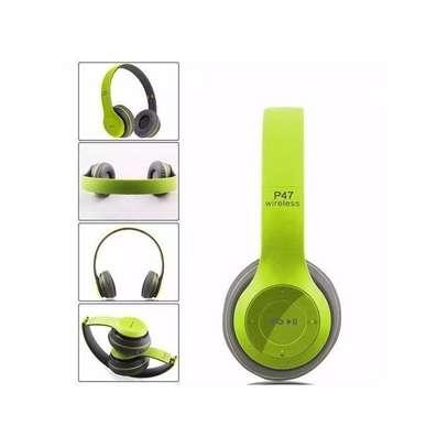 P47 New Style Wireless Bluetooth 4.2 Music Headphones - Lime Green/Black. image 1