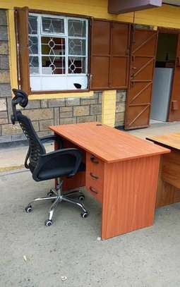 An office desk with a high back breathable adjustable office Headrest seat image 1