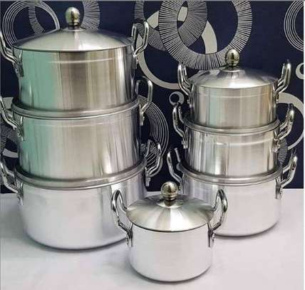 7 pieces stainless steel cooking pots image 1
