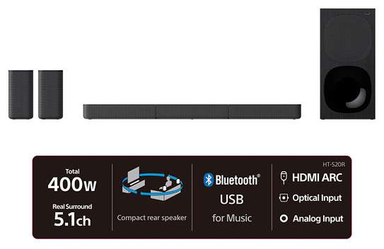 HT-S20R Sony - 5.1ch 400 Watts Soundbar With Wired Subwoofer And Rear Speakers image 2