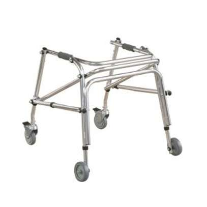Folding pediatric walker with 5 inch casters image 1